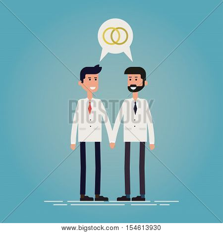 Gay marriage concept flat vector illustration. Two smiling guys is suits standing together and holding hands with speech bubble with rings symbol over their heads. Igbt stock vector.