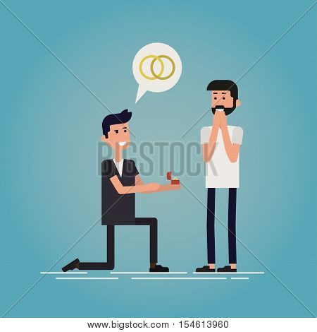 Gay romance concept flat vector illustration. Man making marriage proposal to his lover. Speech bubble with rings symbol is over his head. His boyfriend is surprised and happy. Igbt stock vector.