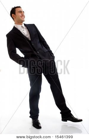 young businessman full bodyshot, studio on white