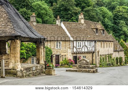 Typical English countryside houses in Castle Combe Village, Cotswold, Wiltshire, England.