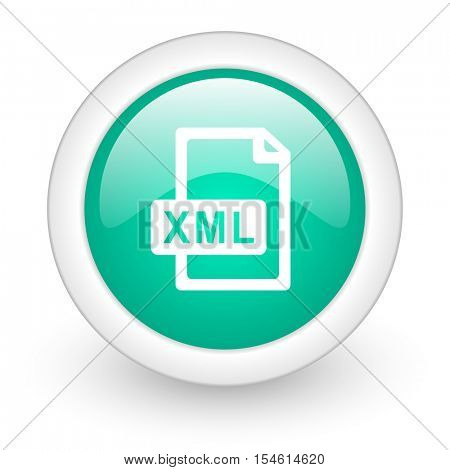 xml file round glossy web icon on white background