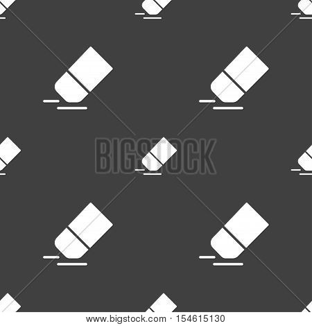 Eraser, Rubber Icon Sign. Seamless Pattern On A Gray Background. Vector