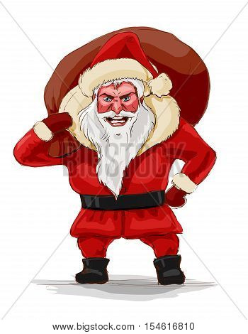 Evil santa claus vector illustration. Terrible Christmas nightmare isolated on white