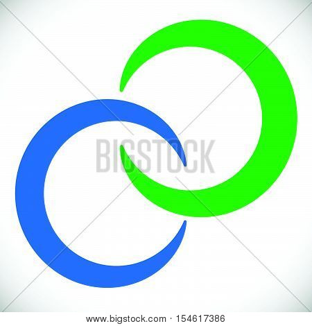 Interlocking Circles Rings. Abstract Logo Element In Blue And Green