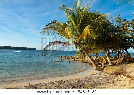 Panoramic view of the pier on Boca del Drago beach, archipelago Bocas del Toro, Panama