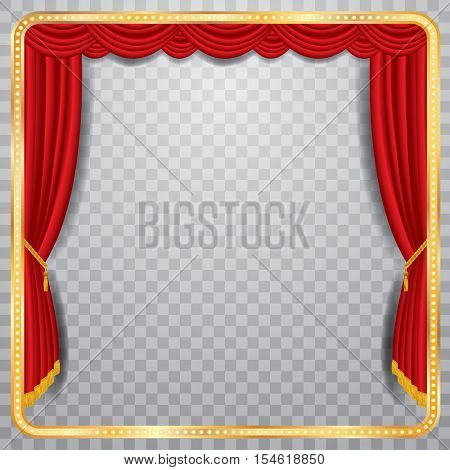 vector stage with red curtain, golden frame and transparent shadow, blank background, layered and fully editable