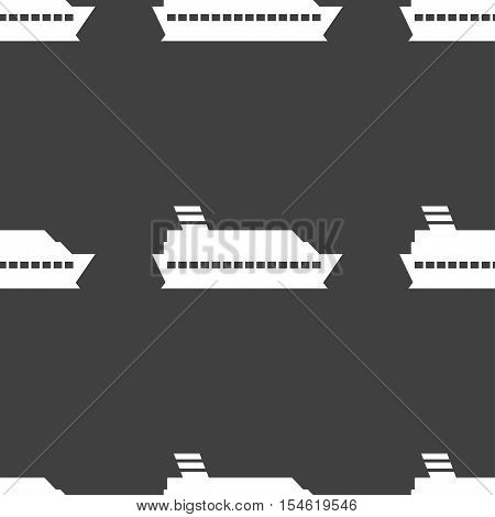 Cruise Sea Ship Icon Sign. Seamless Pattern On A Gray Background. Vector