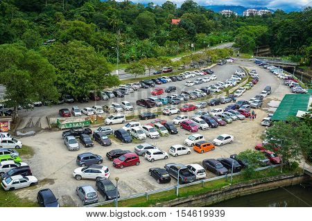 Kota Kinabalu,Sabah-Oct 28,2016:Cars parked near with Karamunsing Shopping Complex in Kota Kinabalu,Sabah.The increase in car ownership has created  lack of parking space at the present scenario.