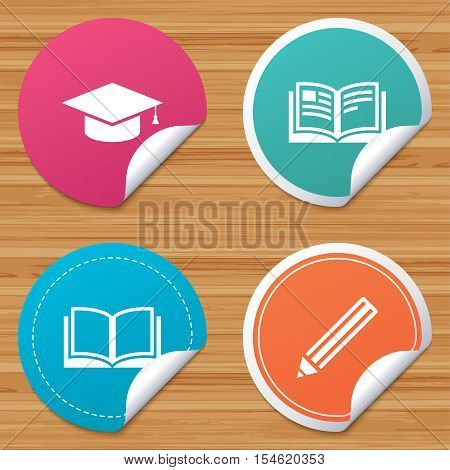 Round stickers or website banners. Pencil and open book icons. Graduation cap symbol. Higher education learn signs. Circle badges with bended corner. Vector
