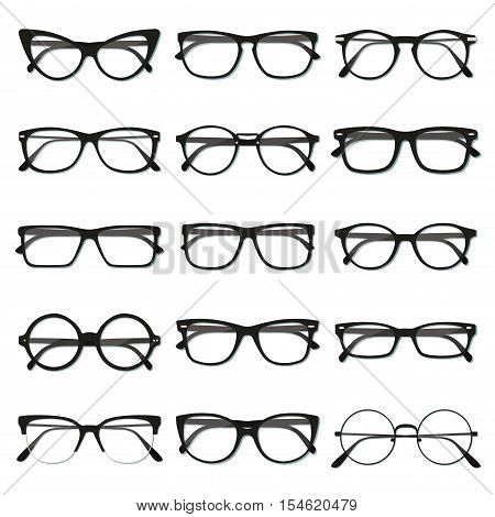 Flat vector glasses big set illustration. Collection of different of rim types - hipster retro vintage modern classic.