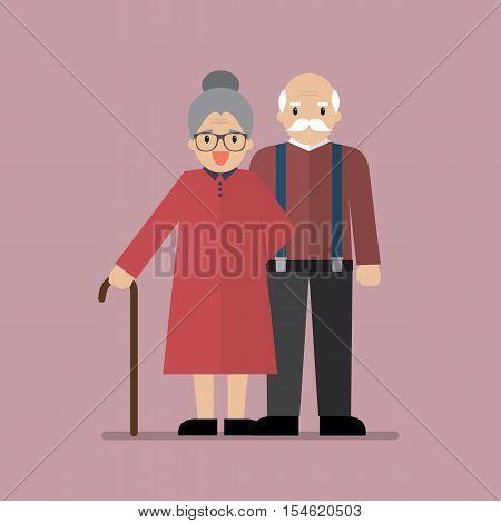 Elderly senior age couple. Vector illustration cartoon