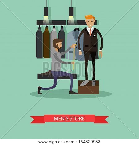 Tailor measuring his man client to make custom suit. Men fashion concept. Clothes shop Interior. Vector illustration banner in flat style design.
