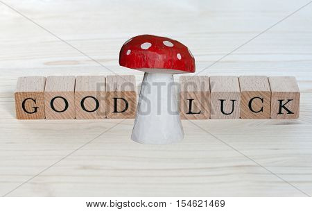 The words Good Luck and a lucky charm on wood