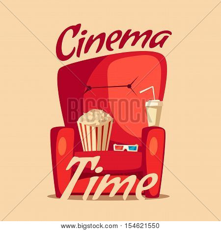 Cinema Time. Home movie watching. Cartoon vector illustration. Red sofa. Web, banner and logo design. Popcorn, cola and 3d glasses. Vintage style. Food and drink