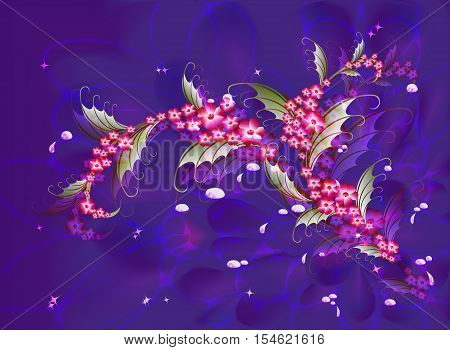 Abstract composition with branch of Sakura flowers on a dark blue background with stars, sparkles and drops of dew. EPS10 vector illustration.