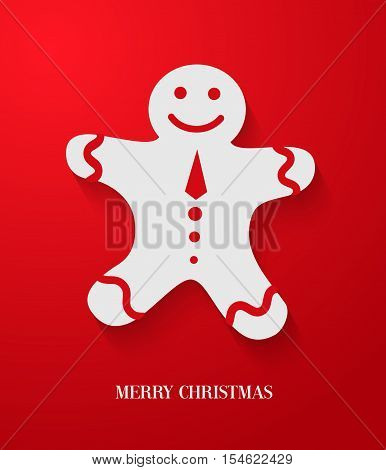 Christmas creative card with gingerbread. Vector illustration.