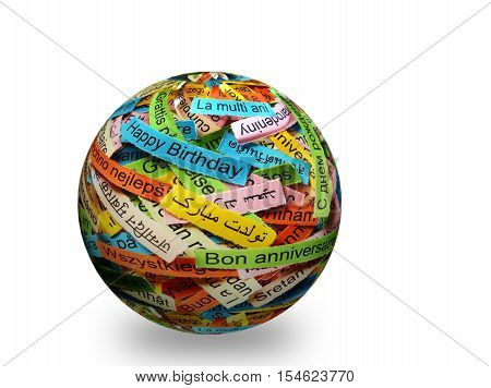 Happy Birtday   On Colorful Paper Different Languages On 3D Sphere