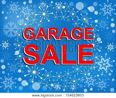 Big winter sale poster with GARAGE SALE text. Advertising blue and red r banner template