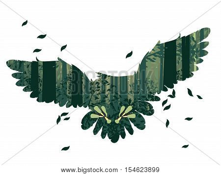 Owl And Abstract Forest Landscape