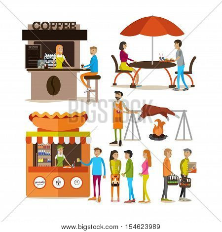 Vector set of cartoon people characters and street food stalls isolated on white background. Street cafe concept.