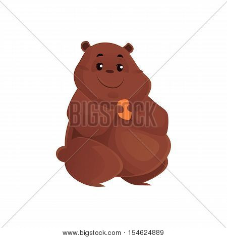 Cute and funny fat, chubby hamster, cartoon vector illustration isolated on white background. Overweight chubby hamster, fatty overfed domestic pet