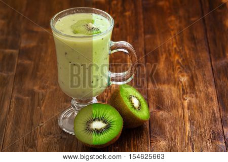 Photo before and after the image editing process. Apple and kiwi fruit milk smoothie in a glass