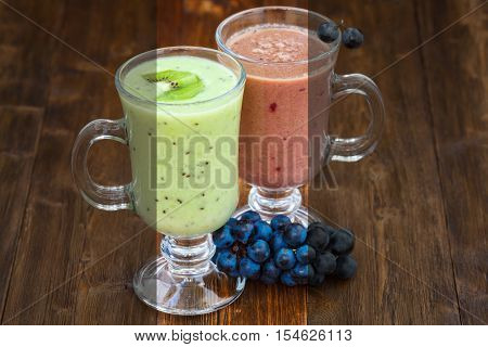 Photo before and after the image editing process. Grape and kiwi fruit milk smoothie