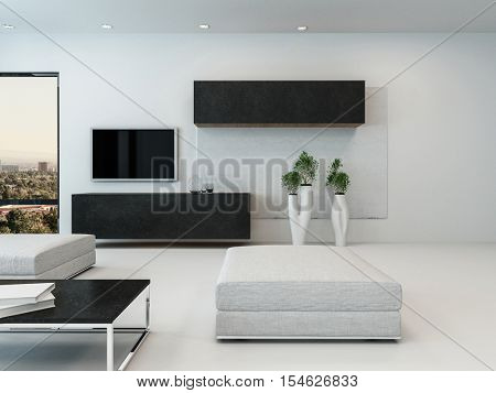 Contemporary white living room with ottoman, wall cabinets and a television with potted plants in elegant containers, 3d rendering