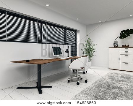 3D rendering of small home office with desk, computer and window blinds. Includes houseplant, cabinet and gray fluffy rug.