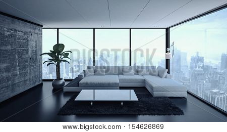 3D rendering of empty spacious living room with modular sofa, lamp, table and large plant lit from ambient window light