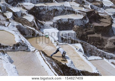 Worker extracting manually salt from the Maras salt ponds located at the Peru's Sacred Valley. October 18 2012 - Maras Peru