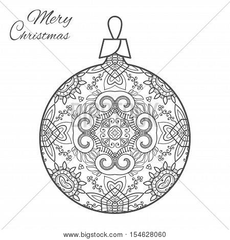 Christmas ball zen-doodle ornate pattern. New Year 2017. Vector hand drawn artistic ethnic ornament for adult coloring book page. Art therapy. Isolated element for t-shirt print, poster, logo, tattoo