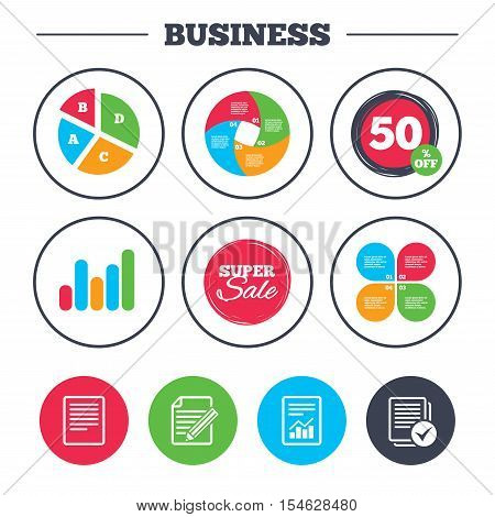 Business pie chart. Growth graph. File document icons. Document with chart or graph symbol. Edit content with pencil sign. Select file with checkbox. Super sale and discount buttons. Vector
