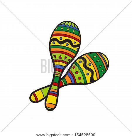 Pair of traditional Mexican brightly colored maracas or rumba shakers, sketch style vector illustration isolated on white background. Couple of hand drawn Mexican maracas