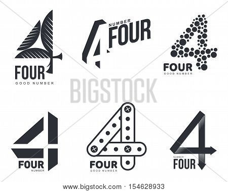 Set of black and white number four logo templates, vector illustrations isolated on white background. Black and white graphic number four logo templates - technical, organic, abstract poster