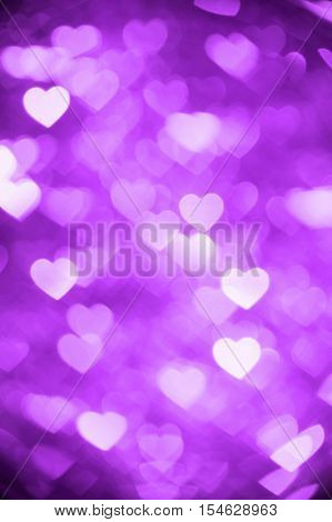 purple heart bokeh background photo, abstract holiday backdrop