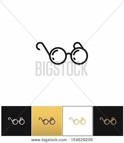 Round eyeglasses or black glasses pictograph on black, white and gold backgrounds
