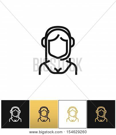 Secretary or hotline assistance manager pictograph on black, white and gold backgrounds