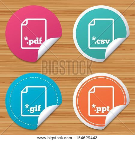 Round stickers or website banners. Download document icons. File extensions symbols. PDF, GIF, CSV and PPT presentation signs. Circle badges with bended corner. Vector
