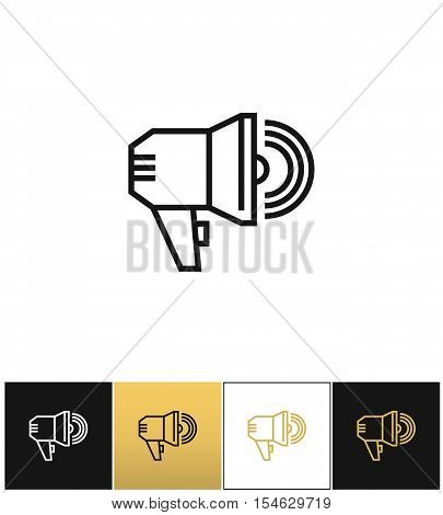 Announcement megaphone sign, loudspeaker or bullhorn vector icons on black, white and gold backgrounds