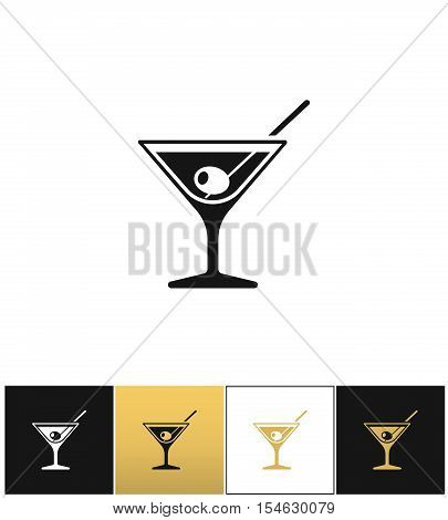 Cocktail glass sign with martini vodka and olive vector icons on black, white and gold backgrounds