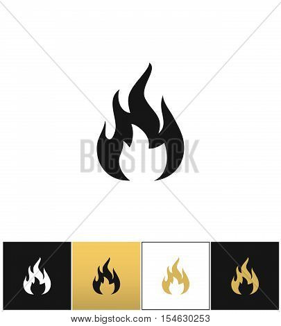 Fire sign, flammable wildfire or hot vector icons on black, white and gold backgrounds