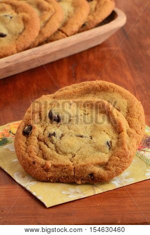 Fresh baked chocolate chip cookies on napkin with wooden tray of cookies in background in vertical format. Macro with shallow depth of field. Focus on front cookie.