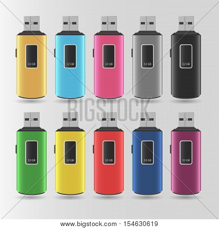 Set Of Vector Colorful Flash Drives On A Gray Background