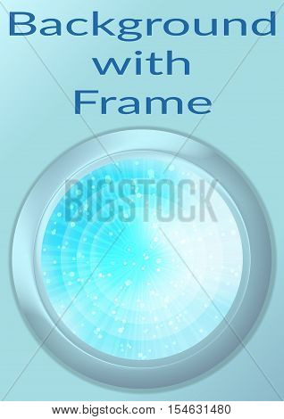 Abstract Background, Round Porthole Window on Blue Wall with Light Pattern, Circles and Rays and Place for Text. Eps10, Contains Transparencies. Vector