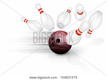 Black bowling ball crashing into the pins