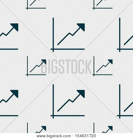 Chart Icon Sign. Seamless Pattern With Geometric Texture. Vector