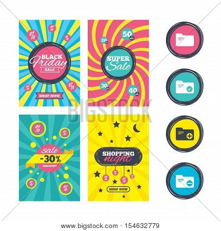 Sale website banner templates. Accounting binders icons. Add or remove document folder symbol. Bookkeeping management with checkbox. Ads promotional material. Vector