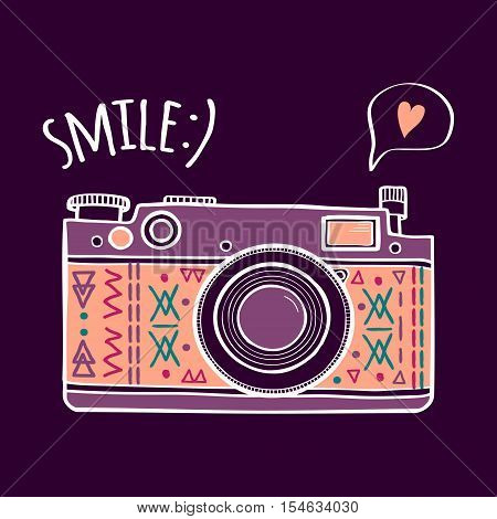 Vector Illustration With Cute Retro Photo Camera, Typography Phrase