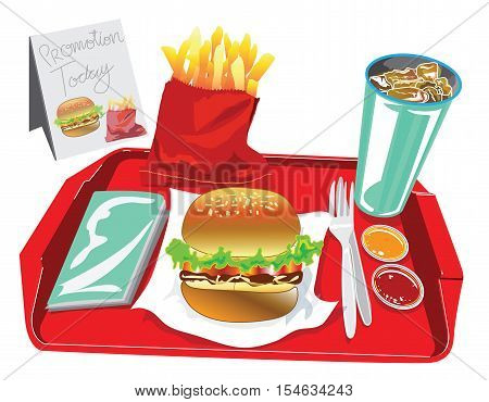 Big Burger Set have soft dring egg salad French fries chilli tomato sauce tissue paper in red tray Have promotion banner for your advertisement background isolate and clipping paths.